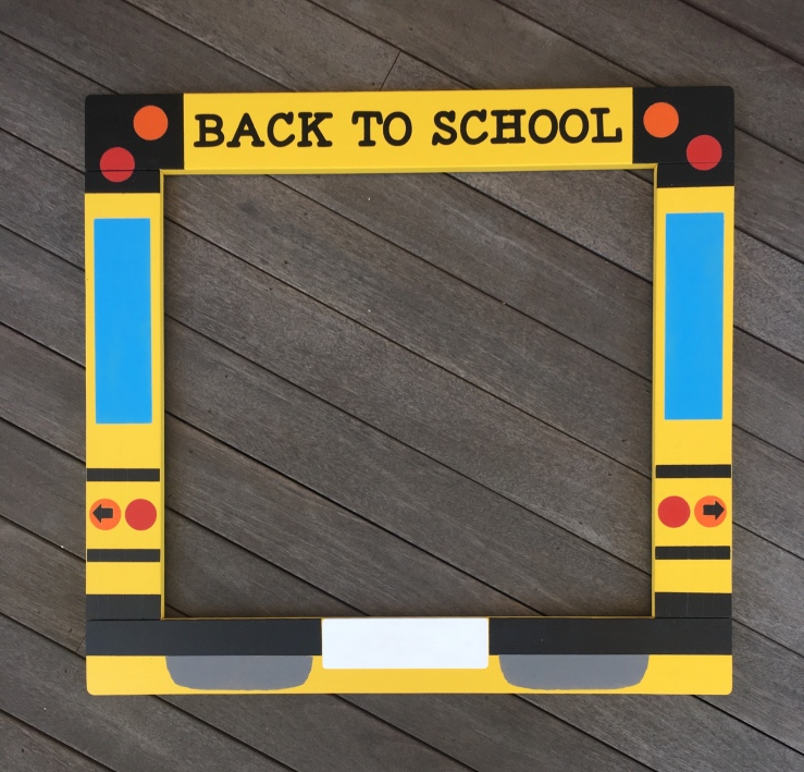 Yellow Bus Photo Booth Frame Prop