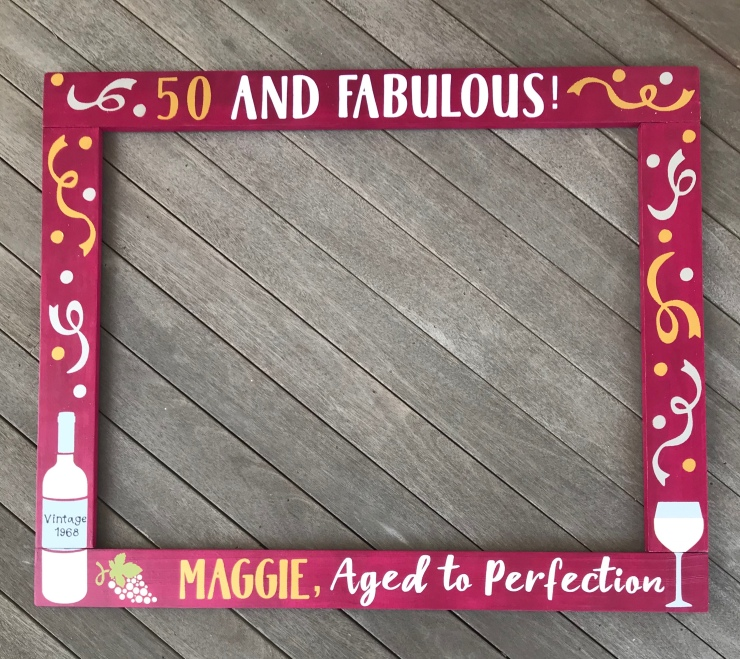 50 & Fabulous Wine Frame Prop