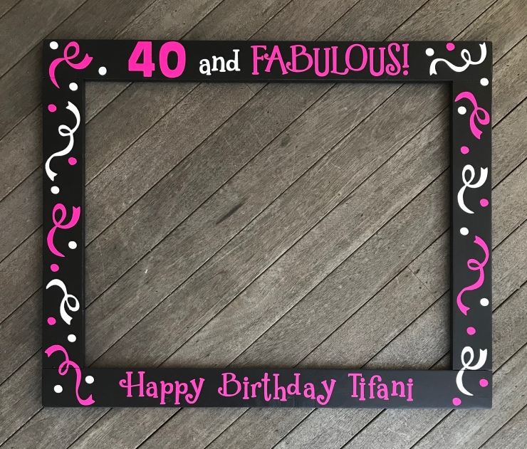 Pink Black and Whtie Birthday Frame Prop
