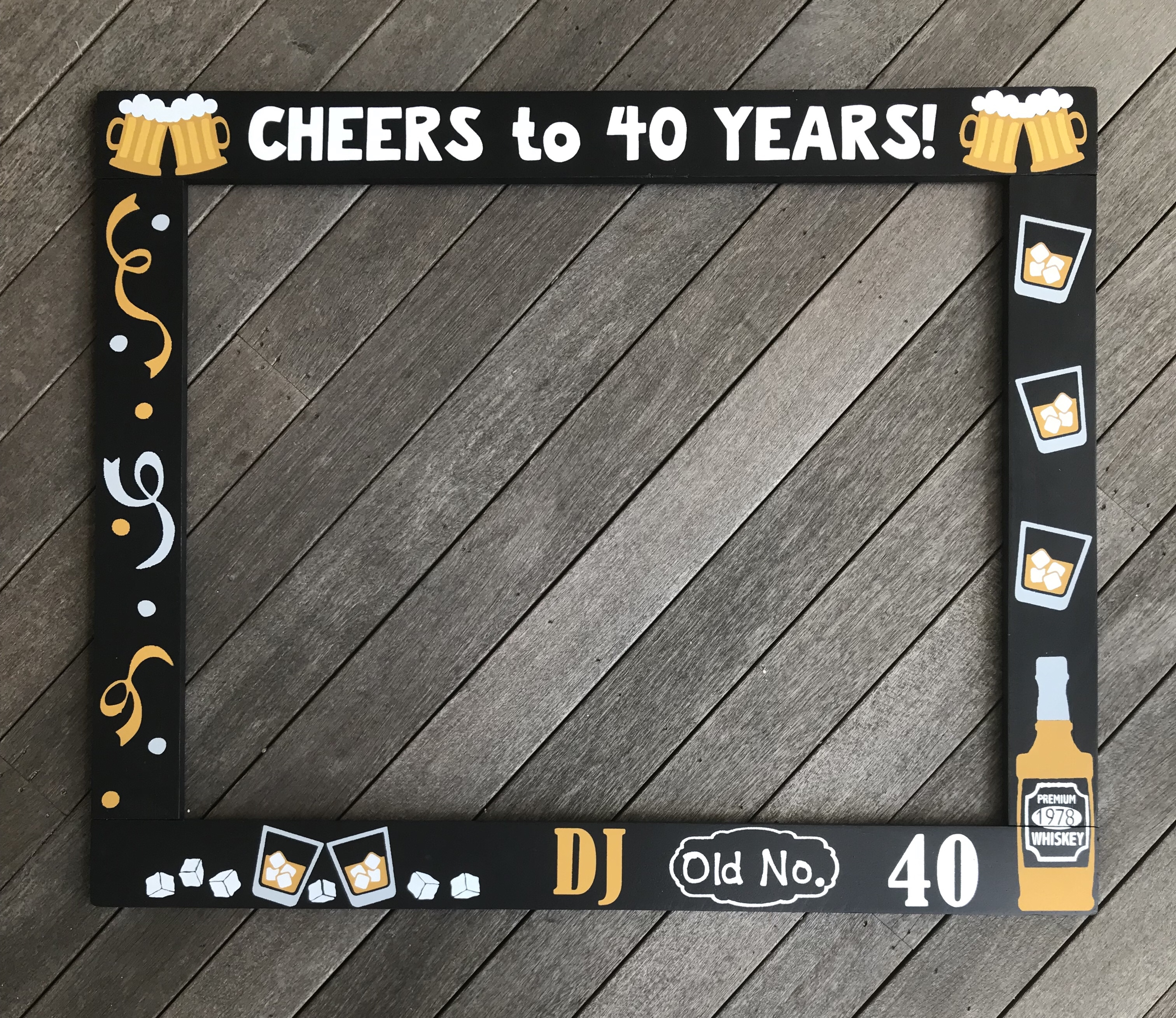 Cheers to 40 Years Photo Frame Prop